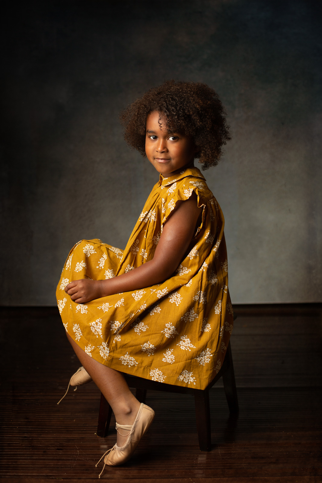 girl in yellow floral dress by leah mcclean the-salted-image-little-cotton-clothes-yellow-portrait