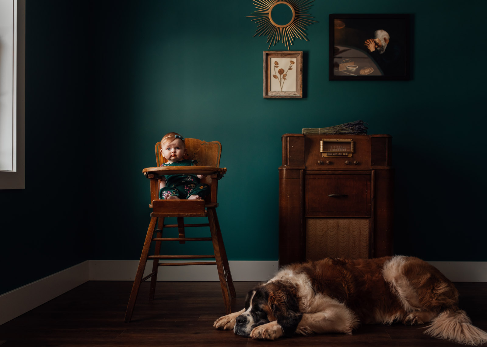 Photographing Pets Baby In High Chair With Large Dog Laying Nearby