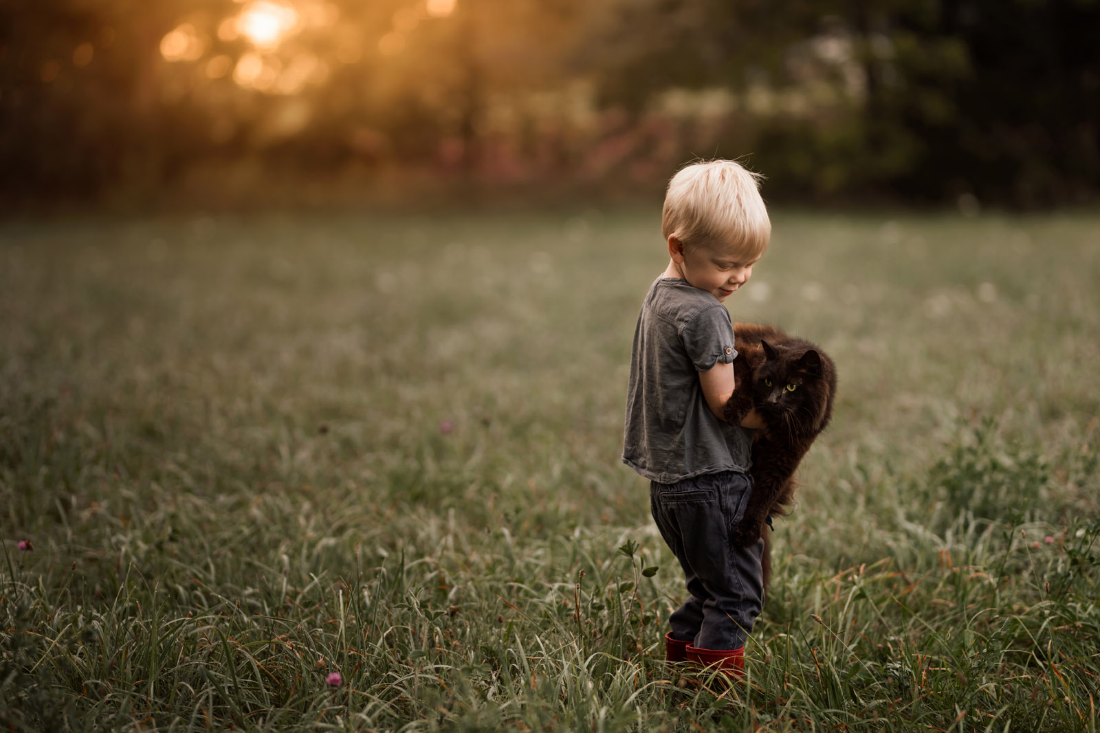 photographing pets small boy carrying large cat in grass by meg loeks