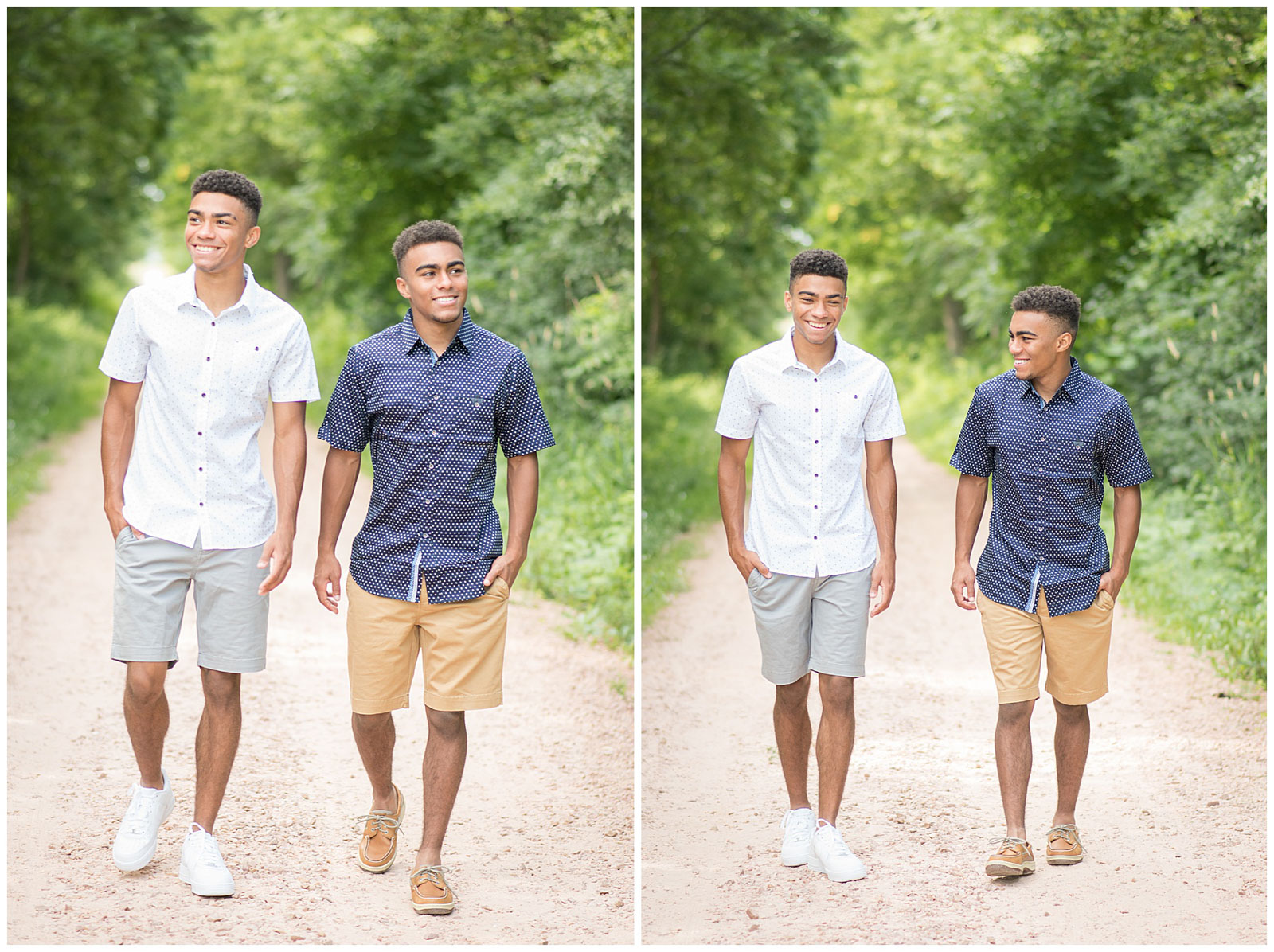 boys walking and laughing outside fun photo experience emily and erin drew esqaured photography
