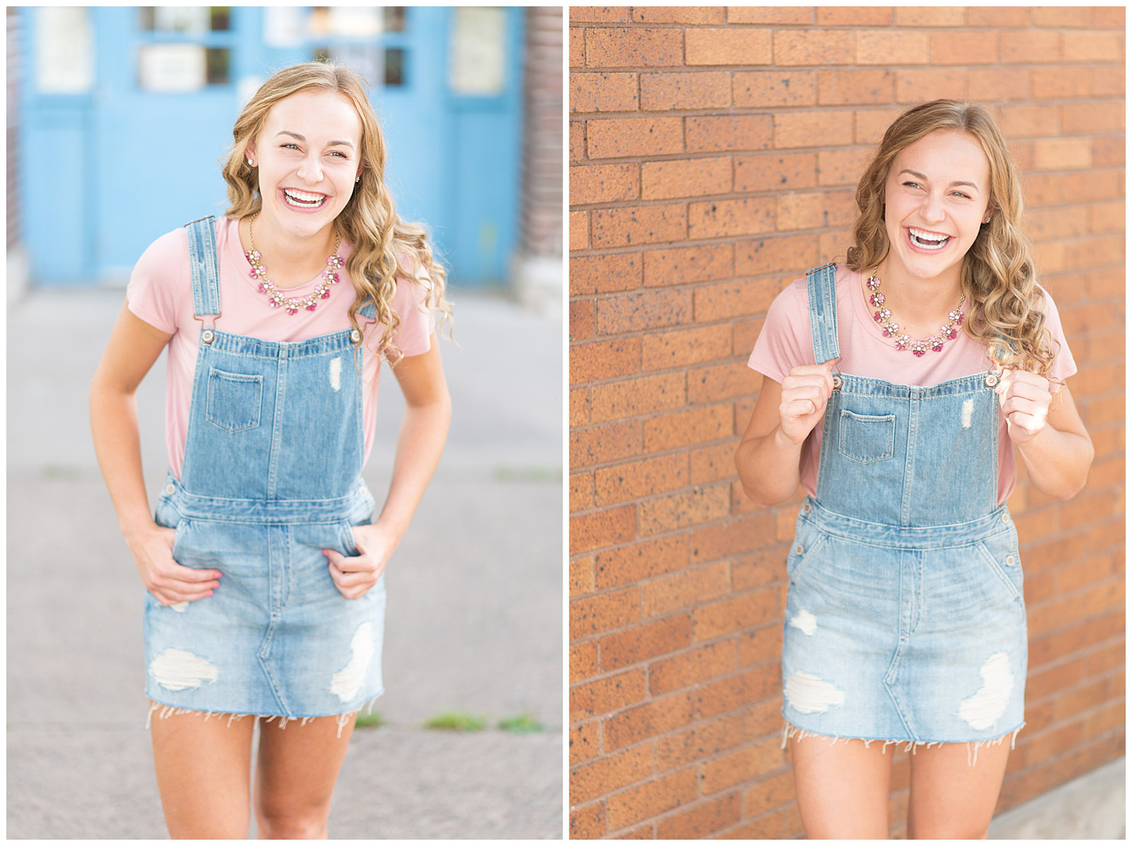 girl in overall denim dress laughing emily and erin drew esquared photography