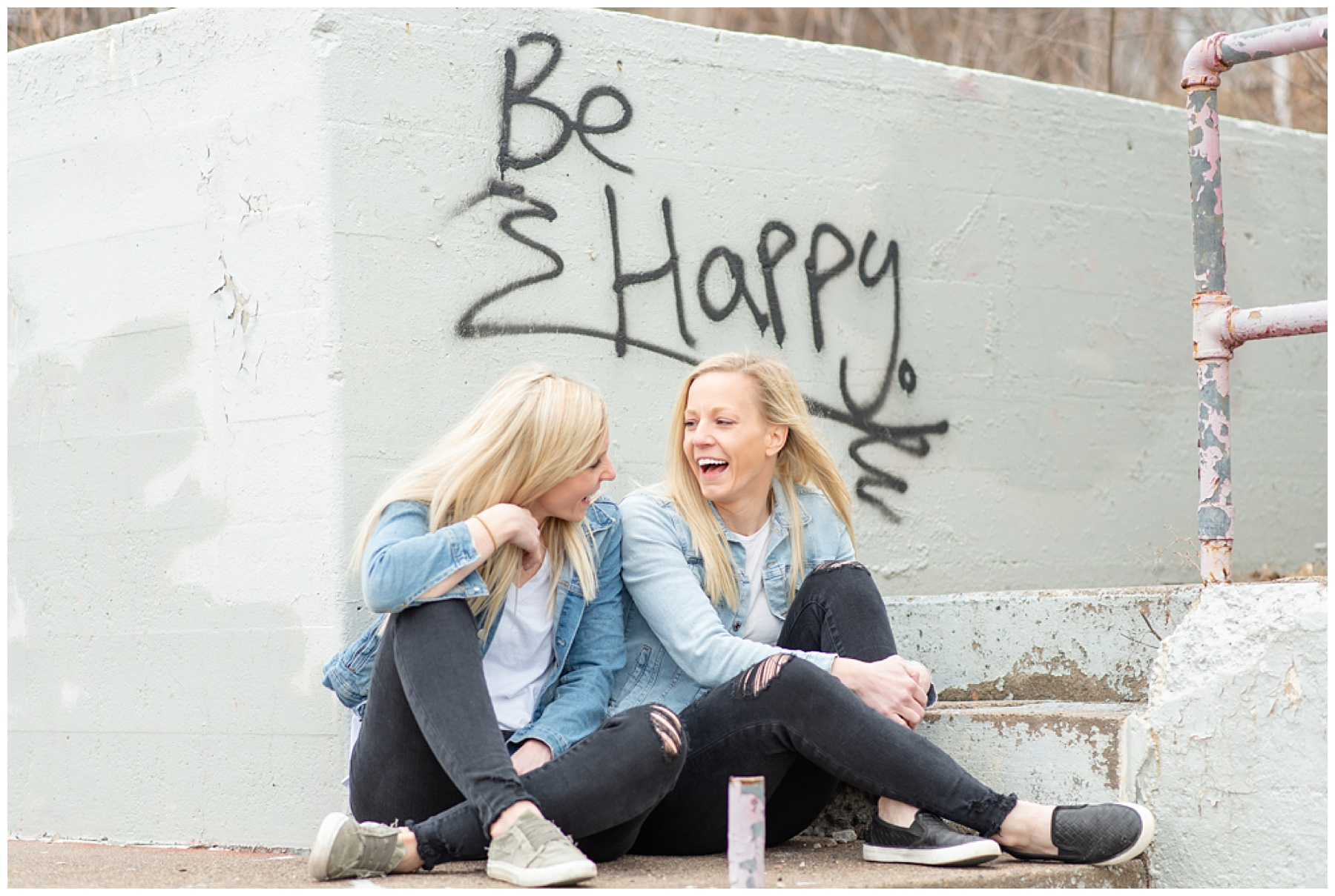 women laughing together emily and erin drew esquared photography
