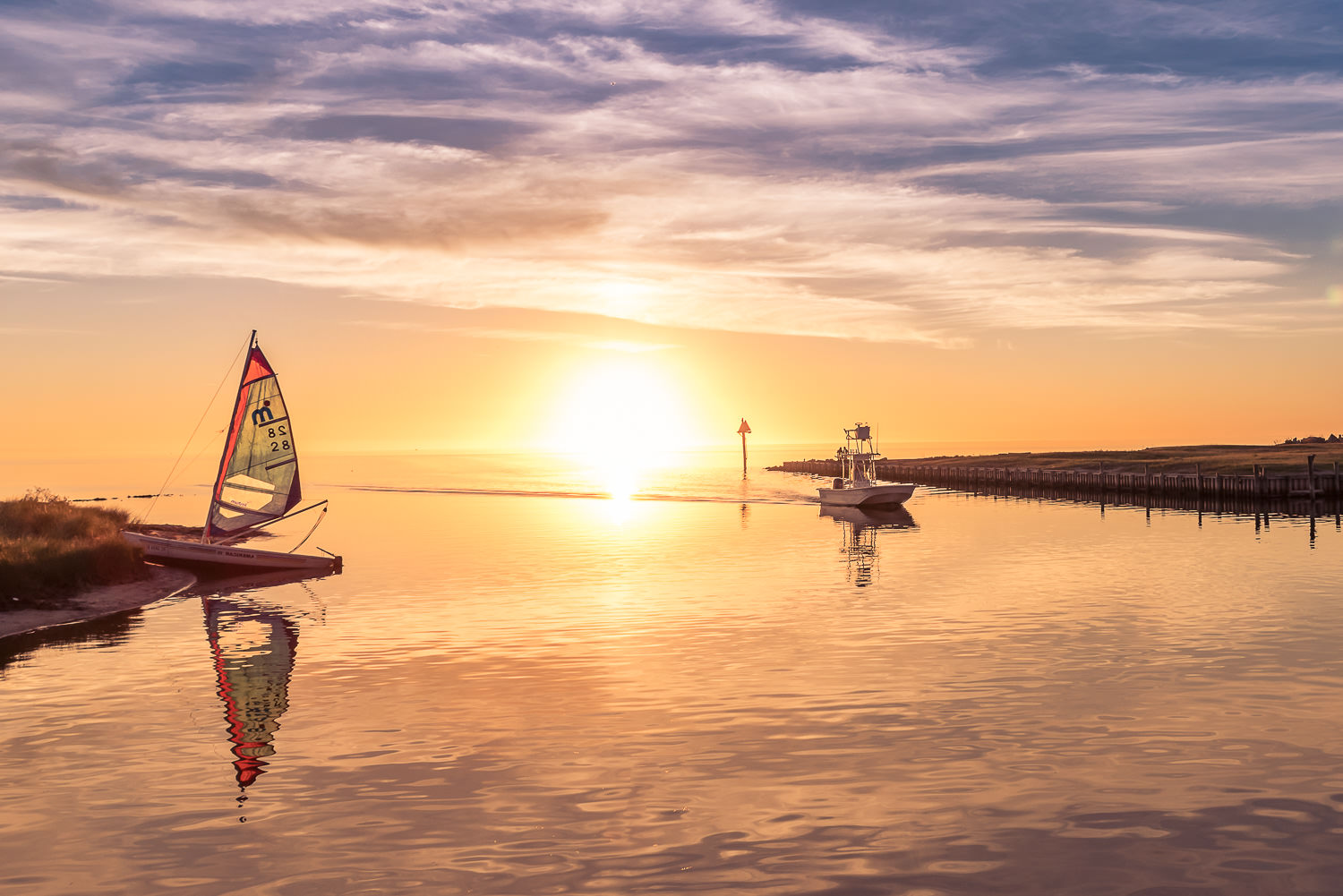 Boats at Sunset at the Avon Harbor © Jennifer Carr Photography