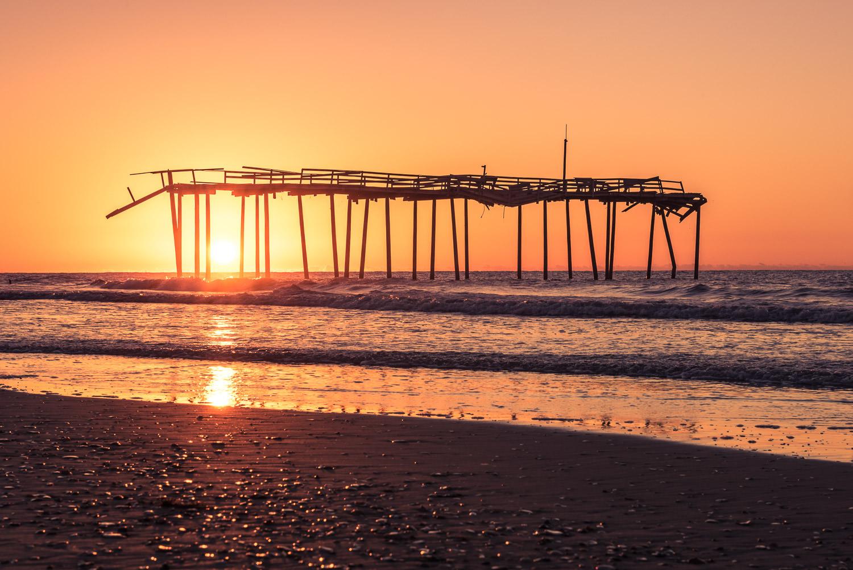 Orange Sunrise at the Frisco Pier © Jennifer Carr Photography Virginia Beach