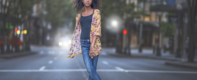 girl standing in middle of city street audrey woulard