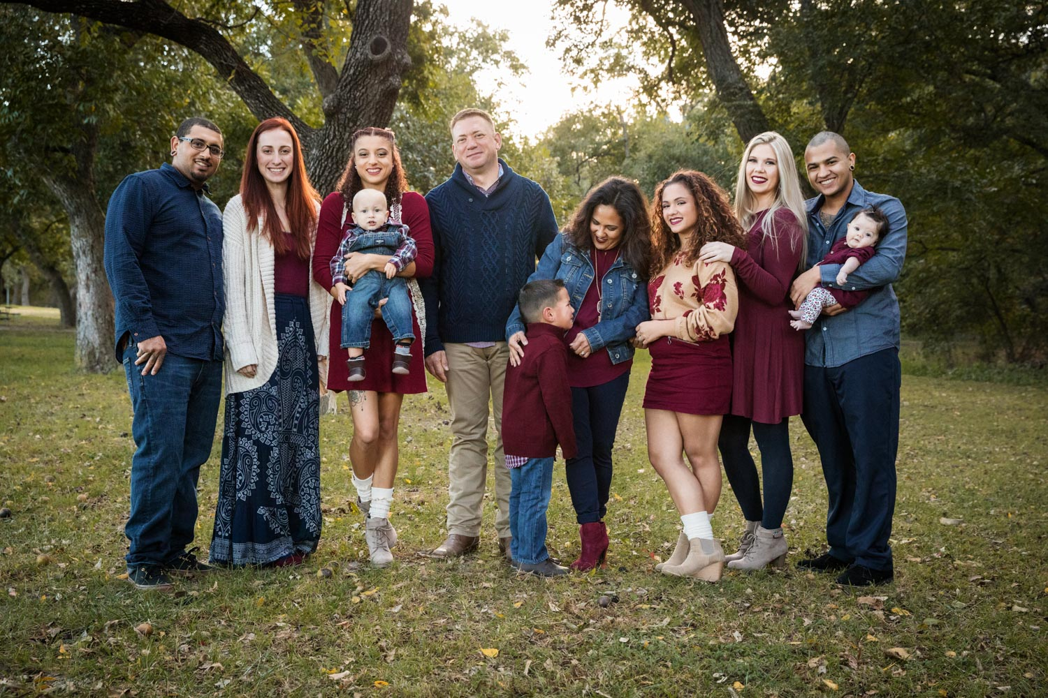 Large Group Photo Session family standing among trees by Shelly Niehaus Photography Prosper, TX.-4