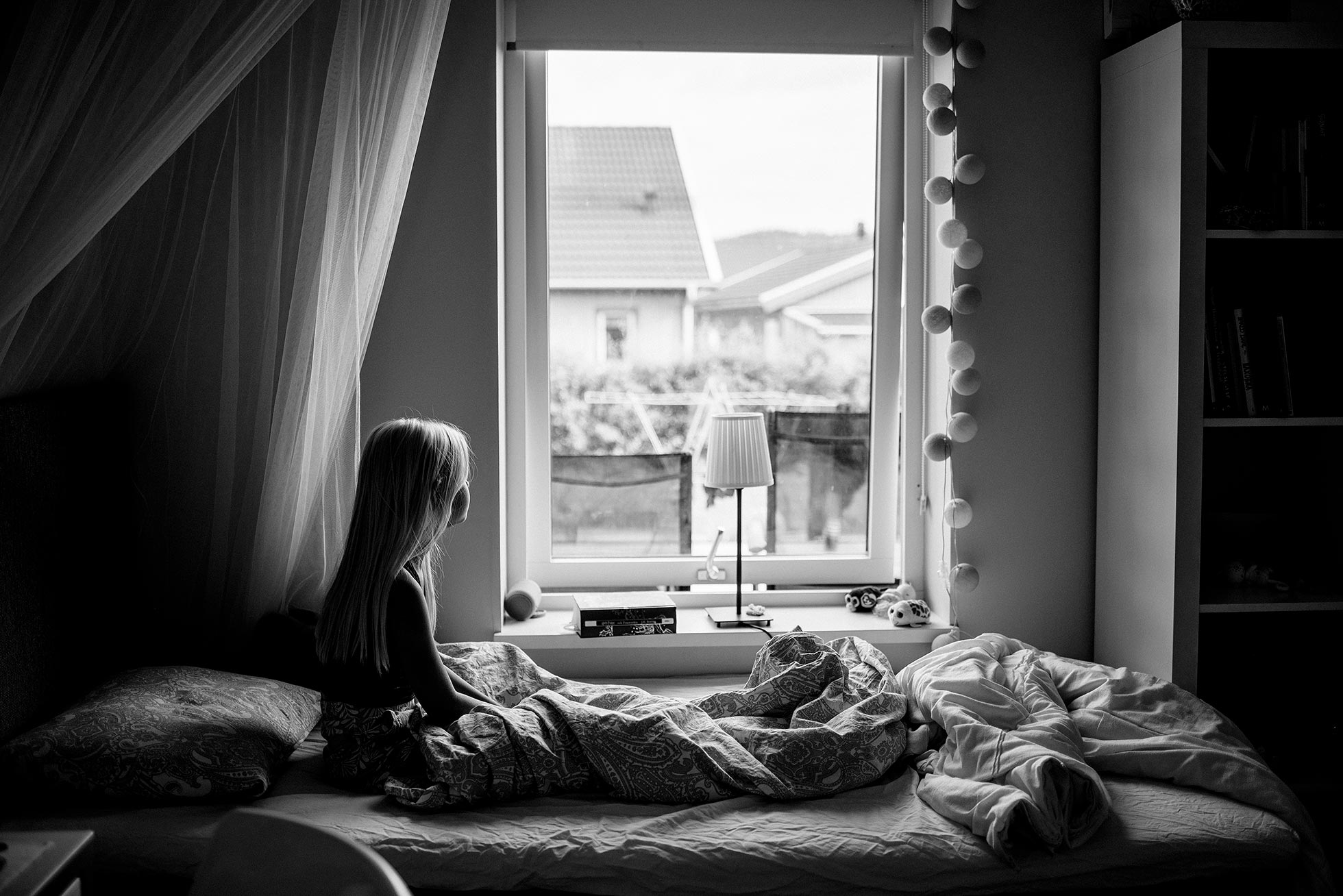 girl getting out of bed black and white jenny rosenbring