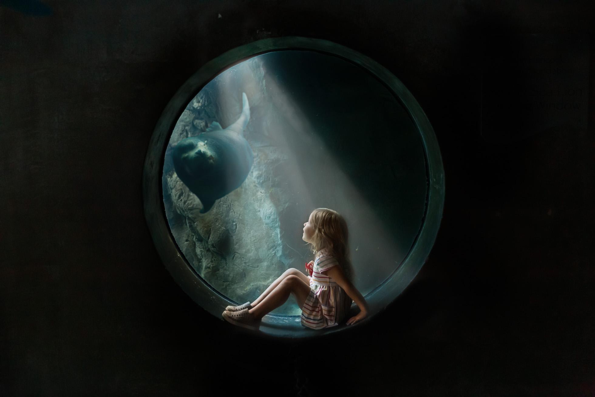 girl sitting in circular window into aquarium by jamie eilts