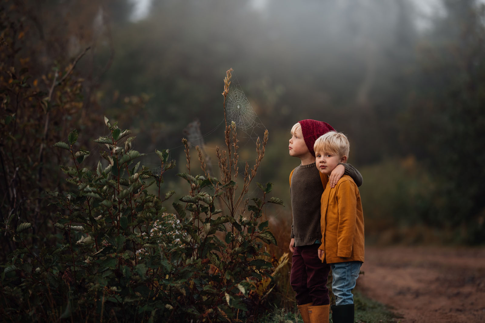 megloeks_13 small boys looking at spider web among leaves in fog in autumn fall activities by meg loeks
