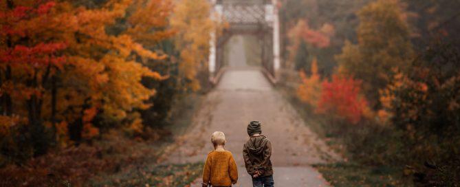 megloeks_image1 two small boys walking along path toward bridge with colorful autumn trees fall activities by meg loeks