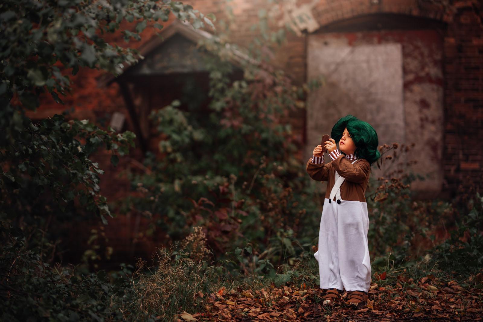megloeks_image21 child in oompa loompa costume with chocolate fall activities by meg loeks