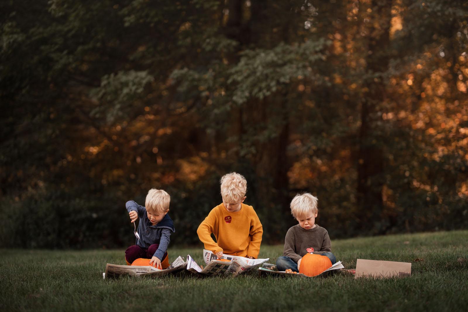 megloeks_image9 three small boys carving pumpkins in grass fall activities by meg loeks
