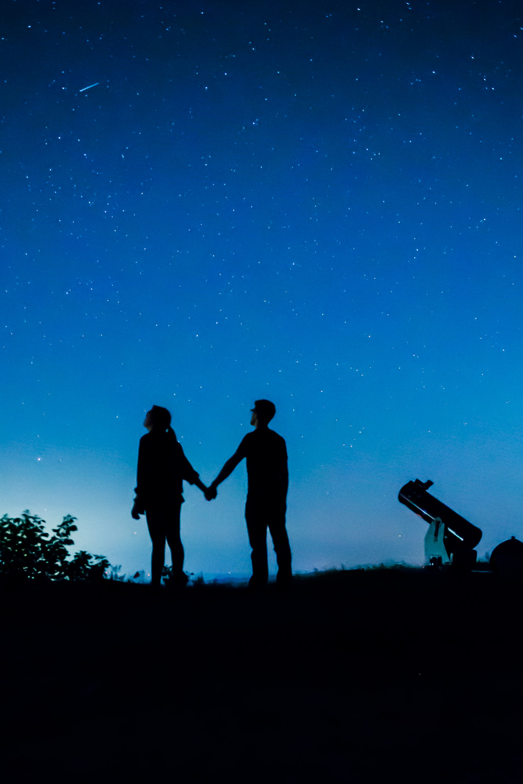 silhouette of people holding hands at night with telescope