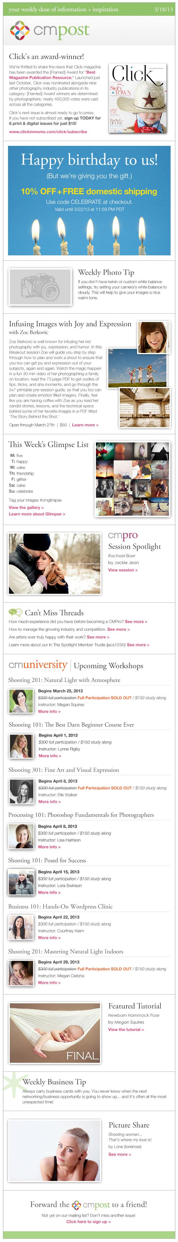 cm post | Click wins the [Framed] Award, Birthday Week sale, and newborn pose help