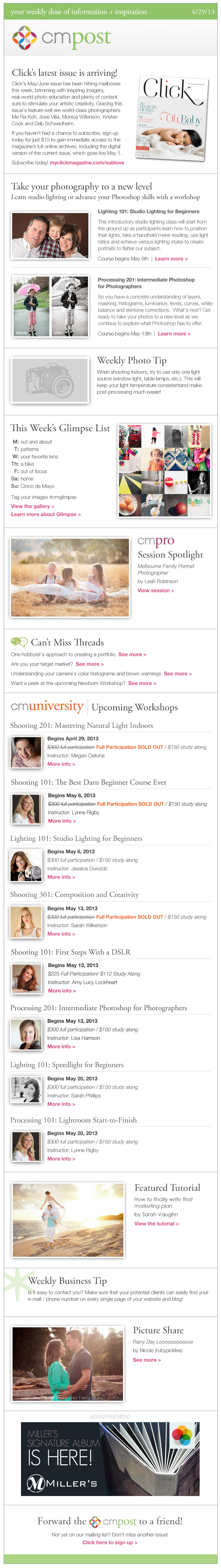 Click's latest issue, upcoming workshops, and creating a marketing plan