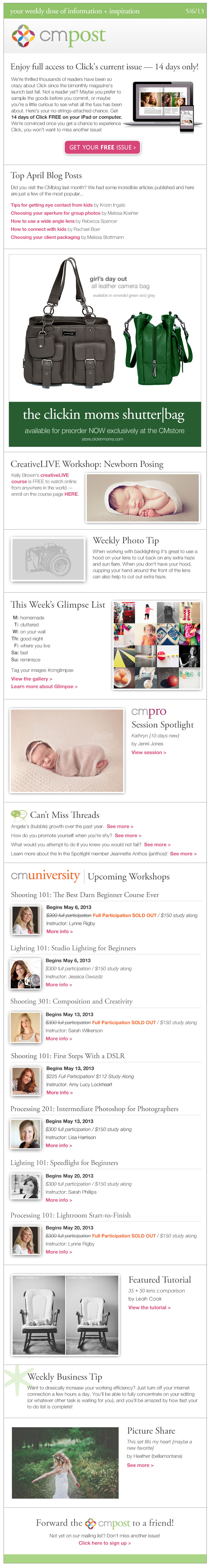 Enjoy a FREE issue of Click, newborn posing, and highlights from the CMblog
