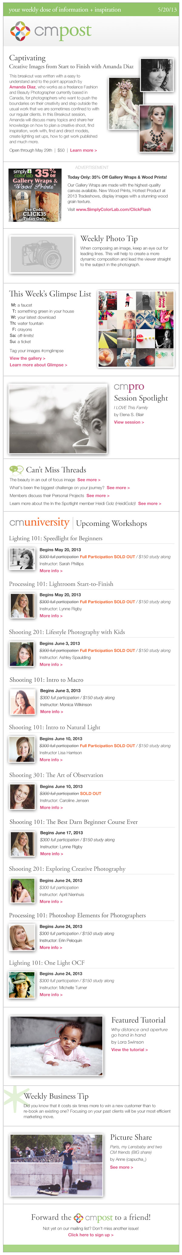 creating captivating images, personal projects, and featured photo sessions