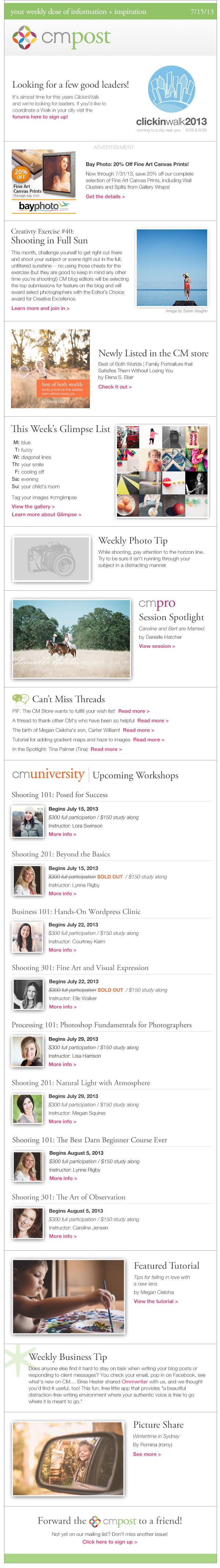 July creativity challenge, seeking ClickinWalk leaders, and loving a new lens